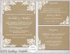 Printable Rustic Lace wedding invitation set template for you to make your own DIY wedding invites, RSVP & reception enclosure cards. White