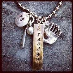 Custom Baseball mom necklace. I like this woman's jewelry - lots of custom stuff for sports moms.   @Patricia Smith Huff