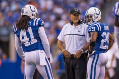 Sep 11, 2016; Indianapolis, IN, USA; Indianapolis Colts head coach Chuck Pagano talks to Indianapolis Colts strong safety Mike Adams (29) and defensive back Matthias Farley (41) during a timeout in the second half of the game at Lucas Oil Stadium. the Detroit Lions beat the Indianapolis Colts by the score of 39-35.  (3100×2067)