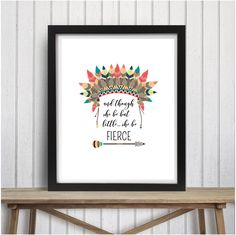 Tribal 'and though she be but little she be fierce' american indian head dress arrow feathers rustic aztec girl nursery tribal theme by picksngiggles on Etsy