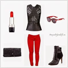 Outfit Ideas Breakdown Outfit Ideas Details A leather peplum top with cut outs will show your sexy edgy side Red skinny jeans always looks hot on everyone Ankle boots, Complements…