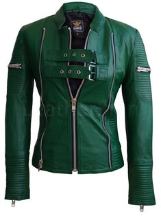 Women Green Sheep Skin Rib Quilted Genuine Leather Jacket - All About Green Leather Jackets, Men's Leather Jacket, Leather Skin, Rain Suit, Spring Jackets, Leather Fashion, Punk Fashion, Cute Outfits, Pretty Outfits