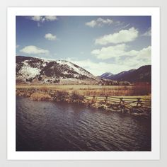 Looking Over the Creek at the Gros Ventre Mountain Range, Wyoming Art Print by Stephanie Baker