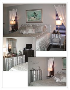 Master Bedroom Makeover  The inspiration for this bedroom was the painting over the bed.  The vintage French provincial furniture was painted with Ralph Lauren silver metallic paint; the tops were painted espresso brown and finished with several coats of  Polyacrylic.