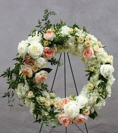 sympathy wreath for spring.blush peonies, white lilac, ivory roses, white hydrangeas, and greenery Casket Flowers, Funeral Flowers, Wedding Flowers, Arrangements Funéraires, Funeral Floral Arrangements, Deco Floral, Arte Floral, Funeral Sprays, Flowers For Mom