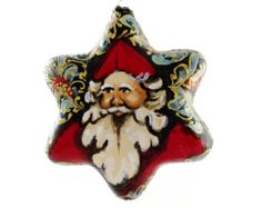 St. Nicholas Glass Star Hand Painted Christmas Ornament No.2 (Austria)