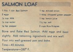 Vintage Salmon Loaf Recipe