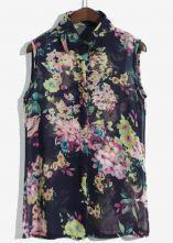 Navy Sleeveless Metal Embellished Floral Blouse $27.00