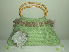 Crochet Tote Bag - green tote handbag evening bag purse crochet bag shabby chic, via Etsy.