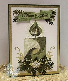 Stunning Warm Tidings Card...with pieced candle. #irisfolding technique  visit me at My Personal blog: http://stampingwithbibiana.blogspot.com/