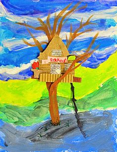Tree House, interesting way to teach seeing a tree instead of drawing what they think something looks like. The tree house is a great way to make it more fun for the kids! 3rd Grade Art Lesson, Third Grade Art, Grade 3, Tree House Drawing, Ecole Art, Magic Treehouse, School Art Projects, Art Lessons Elementary, Art Classroom