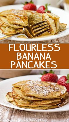 Start your morning off right with theses this refined sugar and gluten-free Flourless Banana Pancakes recipe. The recipe is just 3 ingredients and they are easy to make. Even though the pancakes don't quite taste like a traditional pancake, I think you wi Pancake Recipe Without Eggs, Keto Galletas, Flourless Banana Pancakes, Banana Almond Flour Pancakes, 3 Ingredient Pancakes Banana, Gourmet Recipes, Cooking Recipes, Pancakes Easy, Keto Pancakes