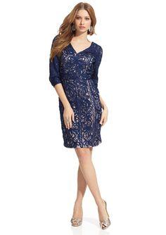 ideeli | SUE WONG Three-Quarter Sleeve Dress with Applique $179.99