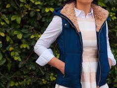 Striped peach dress | white button down shirt | blue puffer vest | black bow ballet flat | www.shoppingmycloset.com     @gap #gap @loft #loft @TheMintJulep #TheMintJulep @nordstrom #nordstrom @target #target