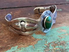 Vintage Southwest Style Cuff Bracelet 925 sterling Green Stone TLC For Repair by Holliezhobbiez on Etsy