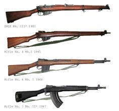 Alternate SMLE Development: SMLE Mk. III*, introduced in 1907 and in service w/ British forces in the early years of the war, being sumplemented by the arrival of the No.4. SMLE Rifle No.4 Mk.1 introduced in 1941, of far simpler construction than the SMLE though essentially the same rifle. Rifle No. 6 Mk.I, a self-loading version of the No. 4 introduced for field trials in 1946 after an exceedingly fast design phase the rifle proves popular if a little prone to stoppages. It uses the basic…