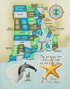Rhode-Island-Coastal-Maps by cardinal creations... come get yours at Zero Wampum today - we carry two different sizes. beautifully done!