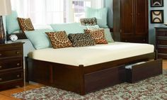 Concord Antique Walnut Solid Wood Queen Bed w/Flat Panel Footboard