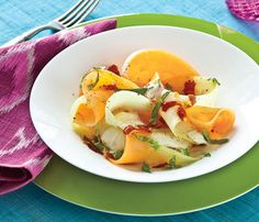 Healthy Side Dishes: Honeydew, Cantaloupe and prosciutto Salad. Prosciutto's protein helps build calorie-blasting lean muscle, and the fiber in melon begins to fill you up so you can slow down and savor the other delish options at the party but not overdo it. #SelfMagazine
