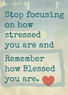 Blesses not stressed.