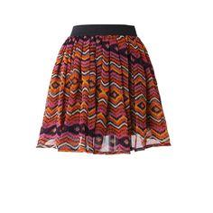 Aztec Zig Zag Print Skater Skirt ($39) found on Polyvore