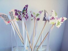 Fabric butterfly fairy princess wands- Set of 6   RepublicofParty.Etsy.com