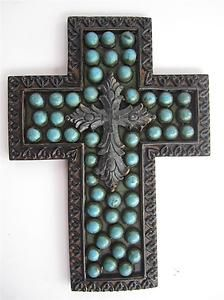 Old World Tuscan Cross Bronze Patina Blue Hanging Wall Plaque Home Decor   eBay