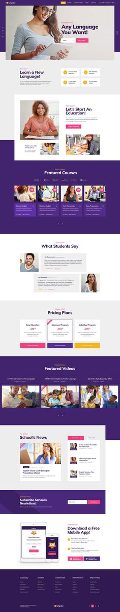 OFF for Lingvico — Language School and Courses WordPress Theme! - We'd Like You to Take a Closer Look at a Language School, and Training Courses - Web Design Examples, Web Ui Design, Web Design Trends, Website Design Inspiration, Web Layout, Layout Design, Website Layout, Website Design Cost, Wordpress Theme