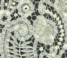 """Princess lace is a tape lace. The tapes are shaped and scalloped, unlike the straight tapes of Battenberg. The name was made up at turn of century to encourage this """"craft type"""" lace. Antique Lace, Vintage Lace, Vintage Sewing, Needle Lace, Bobbin Lace, Silver Bedding, Lace Tape, Types Of Lace, Point Lace"""