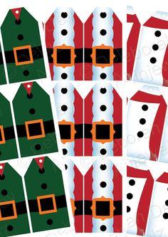 Christmas Elf, Santa and Snowman Gift Tags -  Instant Digital Download Printable 12 snowmen, Santas and Elves
