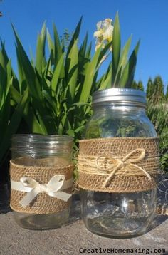 DIY decorated mason jars to use as candle holders or vases for parties or wedding receptions.
