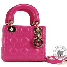 Dior Fuchsia Mini Lady Dior Lady Dior Lambskin CAL44500 Tote Bag from Discountpluss for $3,600 on Square Market