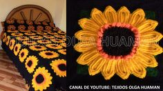muestra # 16 girasol para colcha a crochet video 1