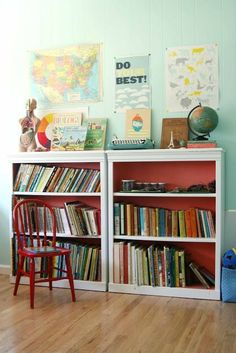 Paint the back of bookshelves bright colour for pop. Cute learning corner.