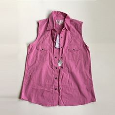 NWT sleeveless button down NWT sleeveless button down. Pink. Never worn. Panhandle Slim Tops Button Down Shirts