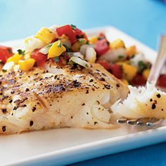 Barbecued Halibut with Fresh Tomato and Basil Salsa Recipe from Mamma's Recipes