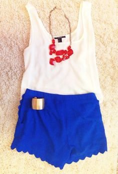 Navy blue shorts | white top | red necklace | summer outfit | fashion | clothes