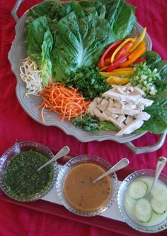 Thai chicken wraps. I made these for dinner tonight with some modifications. They were delicious.