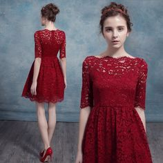 Aliexpress.com : Buy Burgundy Lace Bridesmaid Dresses 2016 Spring Summer Bridesmaid Dresses Half Sleeve Aline Mini robe demoiselle d'honneur from Reliable dress desire suppliers on Life&Peace Dress Store