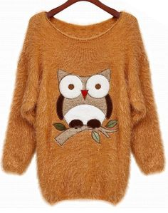 To find out about the Orange Batwing Sleeve Owl Patten Loose Sweater at SHEIN, part of our latest Sweaters ready to shop online today! Owl Sweater, Loose Sweater, Sweater Jacket, Owl Clothes, Clothes For Women, Owl Nails, Batwing Sleeve, Pajamas Women, Bat Wings
