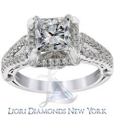 2.90 Carat G-SI1 Certified Princess Cut Diamond Engagement Ring 18K White Gold - Liori Exclusive Engagement Rings - Engagement - Lioridiamonds.com