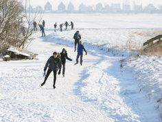 Skating to a destination, not just in circle. Outdoor Ice Skating, Snowy Day, Windmill, Netherlands, Holland, Skate, Sailing, Places, Winter