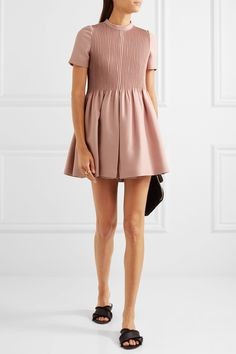 Valentino   Pleated wool and silk-blend playsuit   NET-A-PORTER.COM