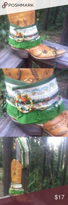 Green and cream , lace and brocade boot cuffs Cali Boho boot cuffs made in greens and cream, lace and brocade , jewelry bling and hand made ribbon ties a kreativekristen original .Posh on, girlfriend;) kreativekristen  Accessories Hosiery & Socks