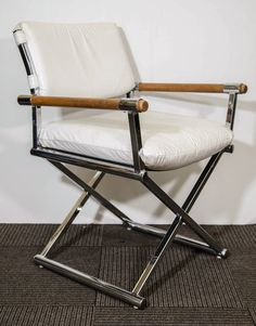 A Mid Century Pair Of White Leather Directoru0027s Chairs W/ X Base   From A  Unique Collection Of Antique And Modern Armchairs At ...