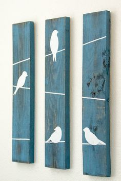 Rustic Wall Decor Birds on a wire 3 Piece Set di HomeFrosting