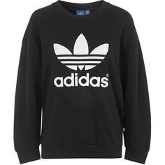 Trefoil Sweatshirt by adidas Originals ($85) ❤ liked on Polyvore featuring tops, hoodies, sweatshirts, black, adidas sweatshirt, black sweatshirt, adidas tops, black top and sports sweat shirts