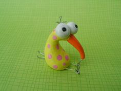 Kiwi Bird with Chicken Pox Polymer Clay Yellow and by MyWillies