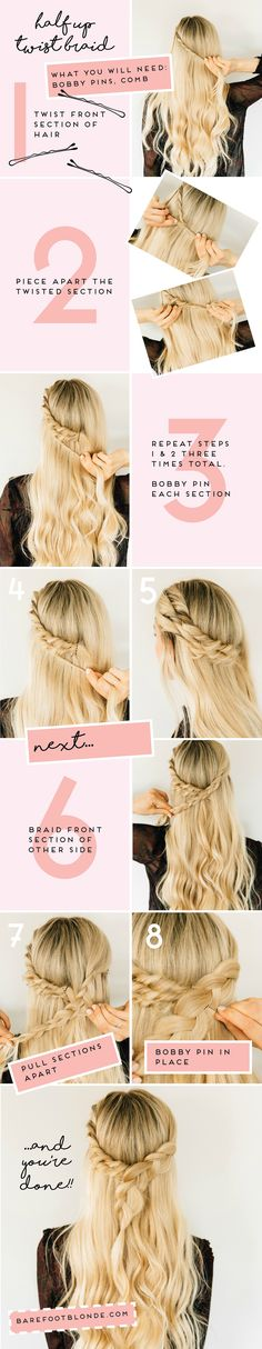 The Barefoot Blonde's guide to creating a half-up twist braid