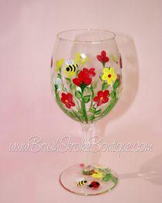Pintado a mano Copa de vino - verano Bug Garden - personalizada y copas de vino personalizadas para bodas, fiesta, cumpleaños, ocasiones especiales